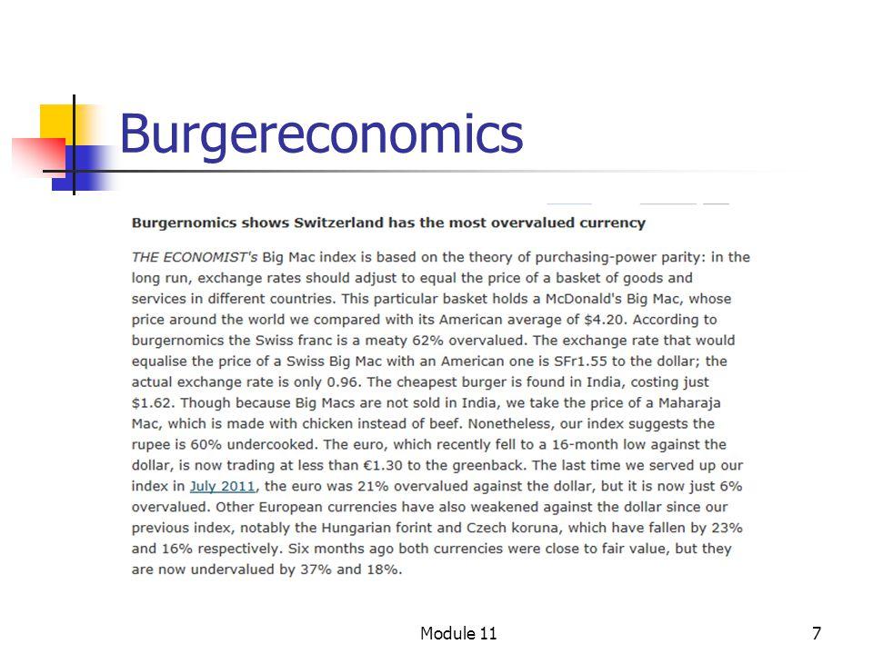 8 Burgereconomics I januar 2012 kostet en Big Mac kr 41 Spotkursen på $ var 6.04, slik at prisen i Norge er 41/6.04 = $ 6.79 I USA kostet en Big Mac $ 4.20, slik at PPP kurs blir 41/4.20 = $9.76 Norske kroner er overvurdert med 9.76/6.04 – 1 = 62 % i forhold til $