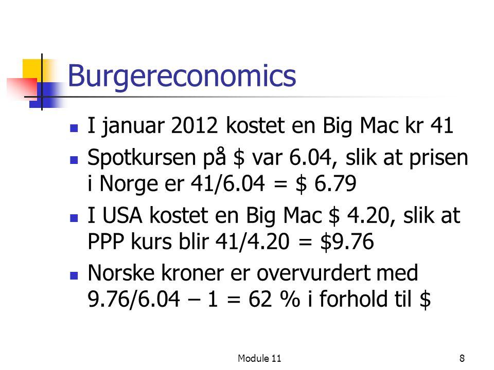 8 Burgereconomics I januar 2012 kostet en Big Mac kr 41 Spotkursen på $ var 6.04, slik at prisen i Norge er 41/6.04 = $ 6.79 I USA kostet en Big Mac $