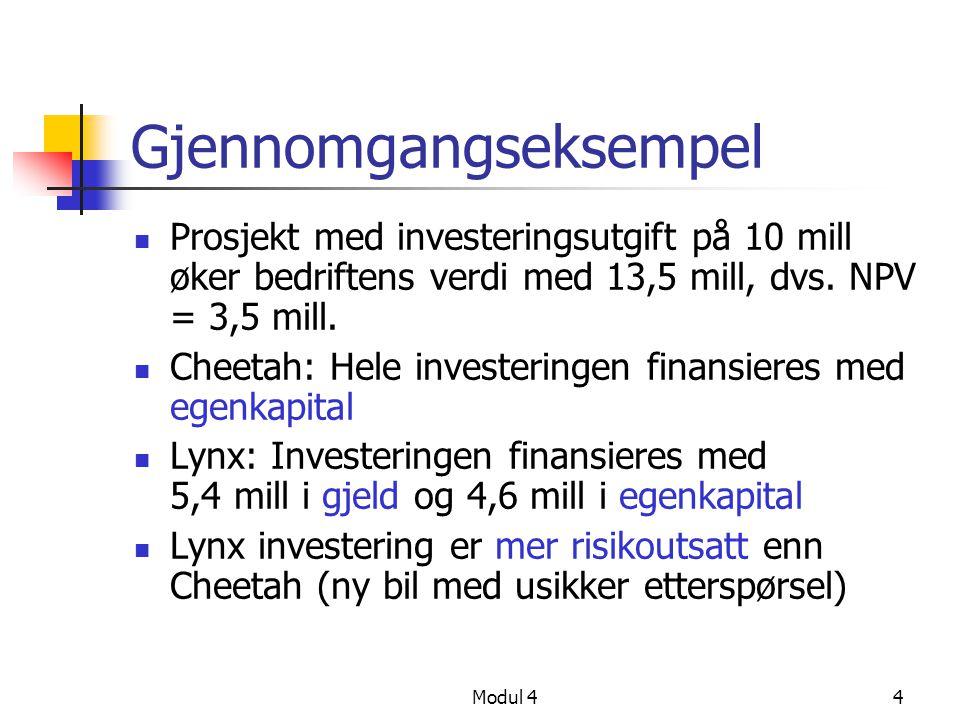 Modul 44 Gjennomgangseksempel Prosjekt med investeringsutgift på 10 mill øker bedriftens verdi med 13,5 mill, dvs.