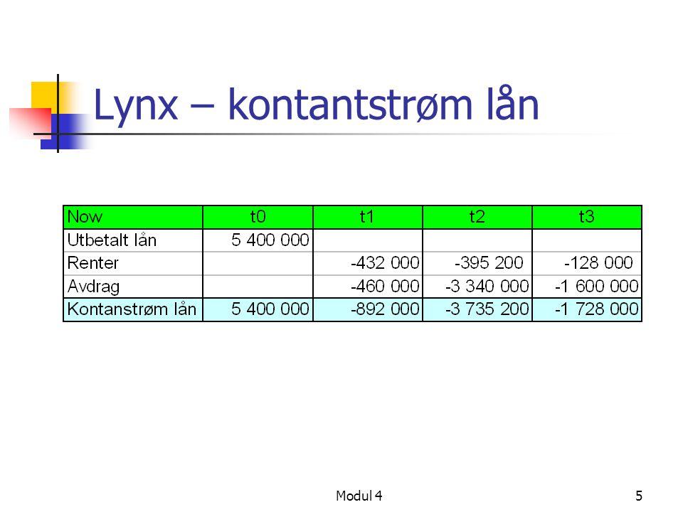 Modul 45 Lynx – kontantstrøm lån