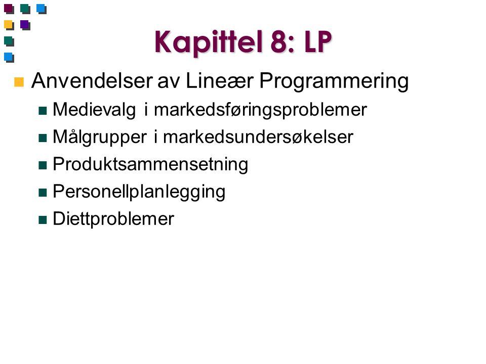 Kapittel 8: LP n Anvendelser av Lineær Programmering n Medievalg i markedsføringsproblemer n Målgrupper i markedsundersøkelser n Produktsammensetning