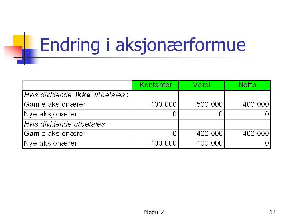 Modul 211 Investeringer i gjeldfritt selskap Hvis investeringen ble finansiert med ny aksjekapital, kan utbytte kr 100 000 utbetales til gamle aksjonæ
