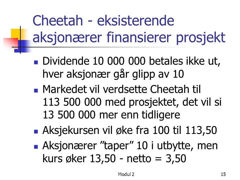 Modul 214 Cheetah i dag Cheetah har utestående 1 000 000 aksjer med kurs 100, dvs. verdi er 100 000 000 Prosjektet vil øke selskapsverdi med 13 500 00
