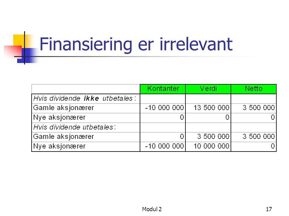 Modul 216 Cheetah - nye aksjonærer finansierer prosjekt Selskapet selger aksjer for 10 000 000 Alle aksjene må være verdt 113 500 000, slik at eksiste