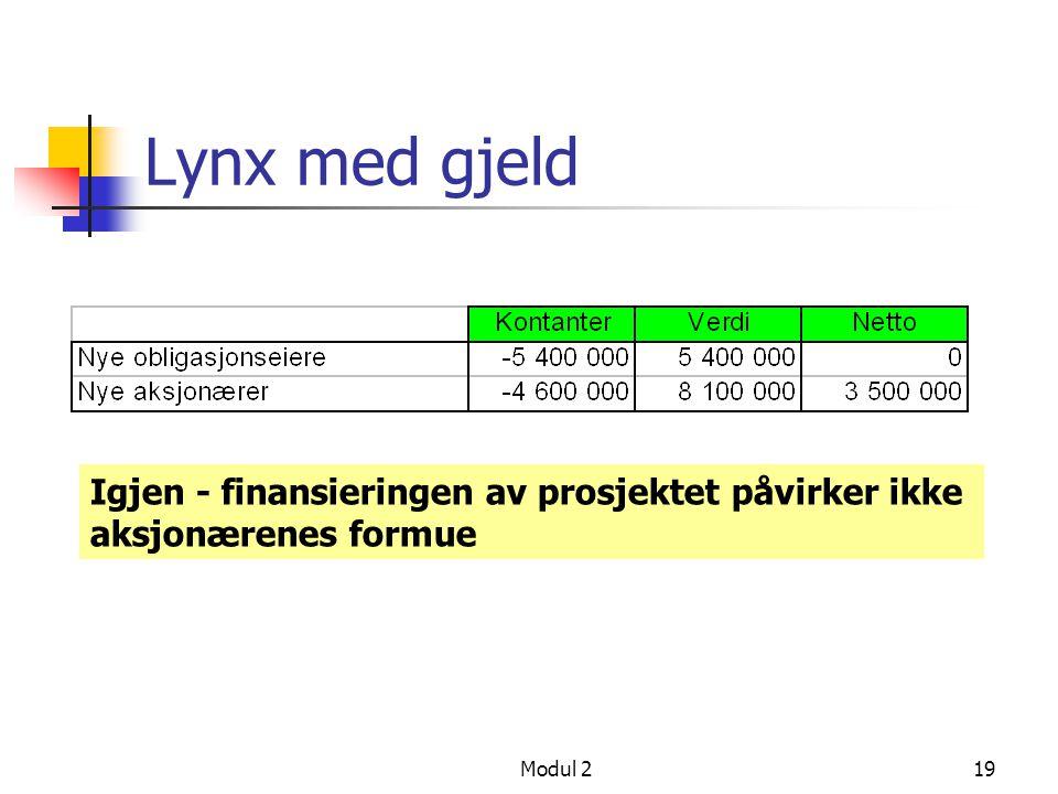 Modul 218 Lynx har gjeld Identiske prosjektdata, men Lynx finansierer prosjektet slik Lån 5 400 000 Aksjonærer 4 600 000 (kansellert dividende) Hvis s