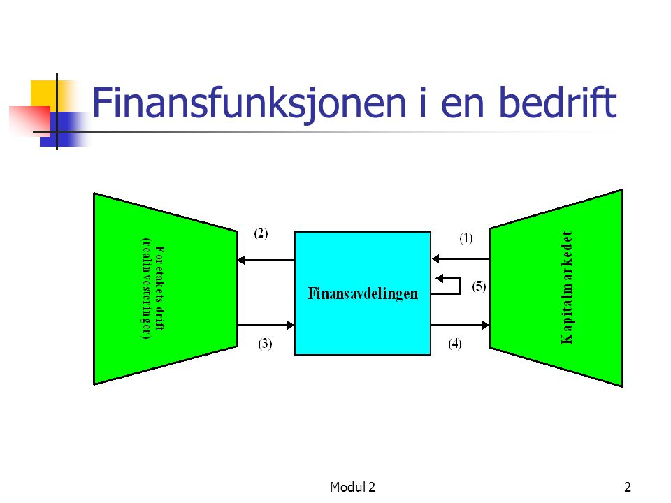 "Modul 21 Module 2: Fundamentals of Corporate Investment Decisions Hvordan ser vi på bedriften i ""Finance""? Investeringsbeslutninger i bedrifter uten g"