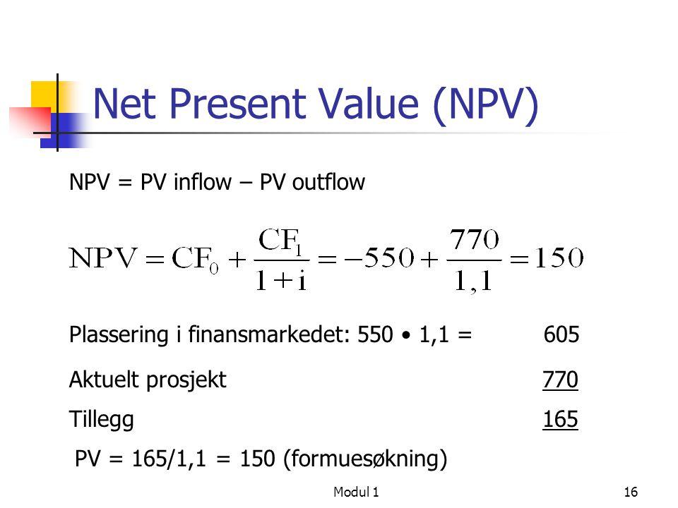 Modul 117 Internrente (internal rate of return) Internrenten (IRR) er prosjektets effektive avkastning, dvs.