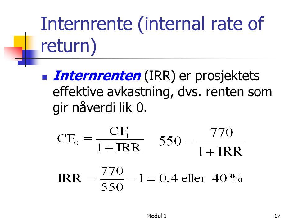 Modul 118 Kontantstrøm over flere perioder PV av kontantstrøm ved t 3 Generell beregning av PV