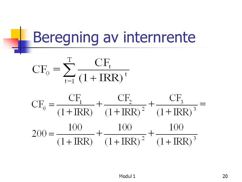 Modul 121 Internrente IRR  23,5%