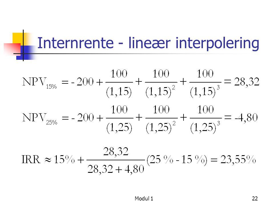 Modul 123 Beregning av nåverdi Hvis renten er den samme hver periode blir sumformelen som finnes i Table A1.2 side A1/4, viser PV av etterskuddsannuitet Nåverdi av kontantstrøm med flere, identiske beløp: