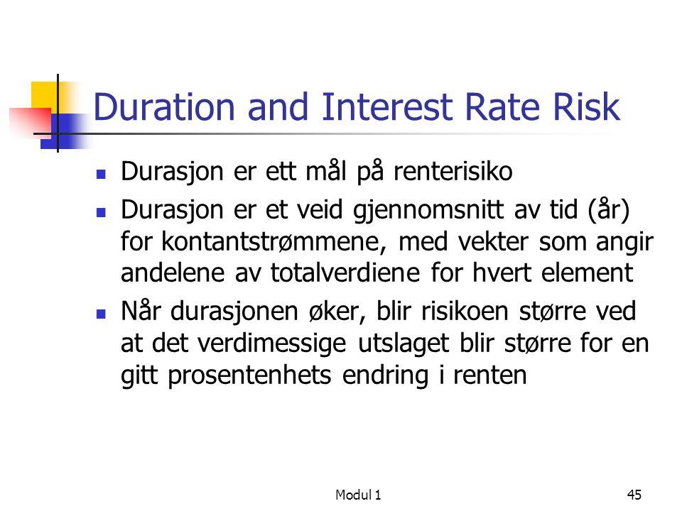 Modul 146 Durasjon, forts t5t5 t1t1 Papir X Papir Y CF Y`s PV er mer utsatt for endringer i rente