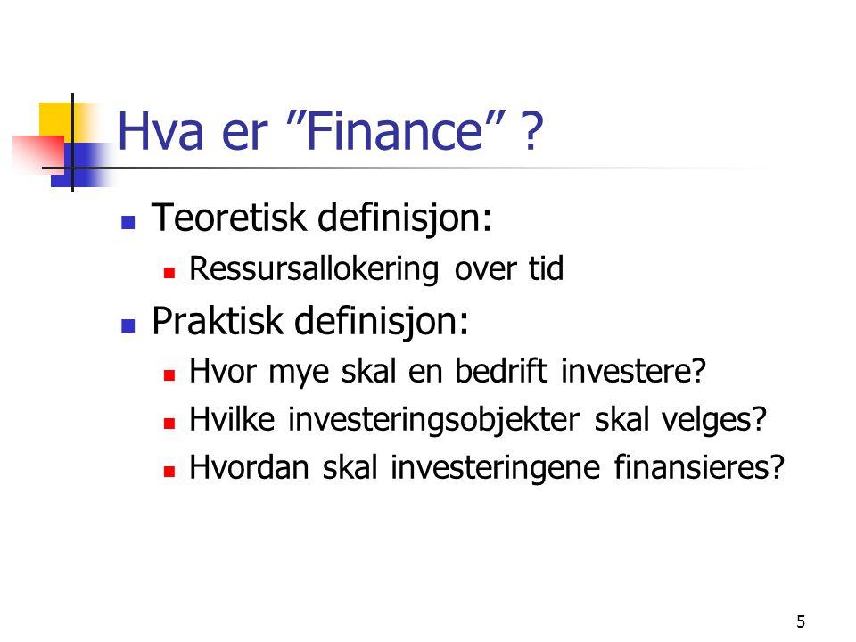 6 Investeringsanalyse: mål Målsettingen i investeringsanalysen er å velge ut og investere i eiendeler som maksimerer eiernes formue (aksjekursen) Både forventet avkastning og risiko i forbindelse med et prosjekt må analyseres Vi velger ut prosjekter som er lønnsomme økonomisk, dvs.