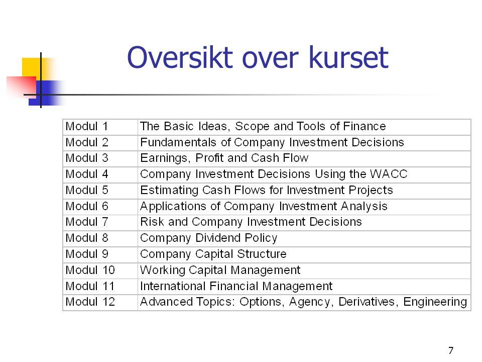 Modul 18 Modul 1: The Basic Ideas, Scopes and Tools of Finance Introduksjonskapittel - men viktig og krevende Introduksjon til finansmarkedet Litt om verktøyet som brukes i problem- stillingene