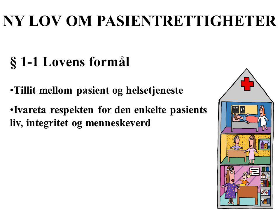 NY LOV OM PASIENTRETTIGHETER § 1-1 Lovens formål Tillit mellom pasient og helsetjeneste Ivareta respekten for den enkelte pasients liv, integritet og