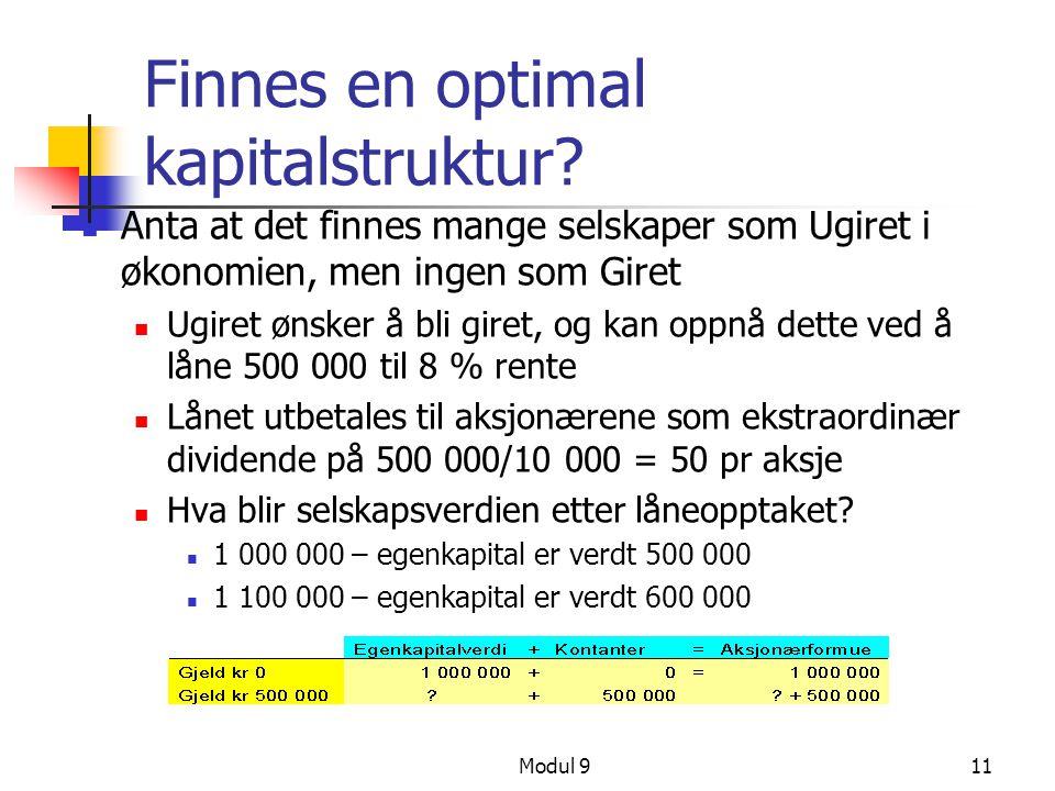 Modul 911 Finnes en optimal kapitalstruktur? Anta at det finnes mange selskaper som Ugiret i økonomien, men ingen som Giret Ugiret ønsker å bli giret,