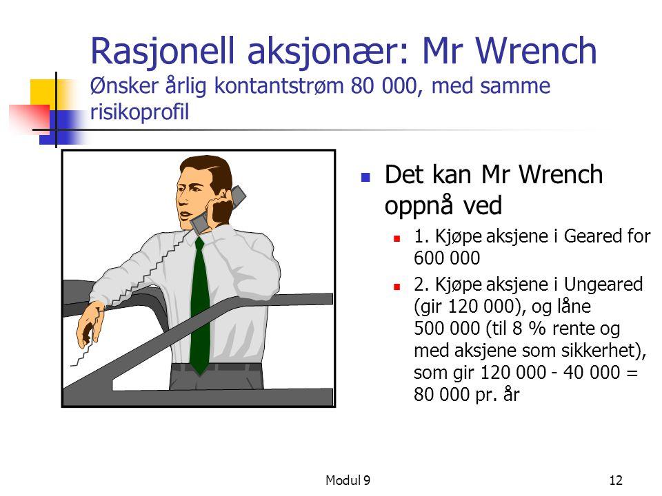 Modul 912 Rasjonell aksjonær: Mr Wrench Ønsker årlig kontantstrøm 80 000, med samme risikoprofil Det kan Mr Wrench oppnå ved 1. Kjøpe aksjene i Geared