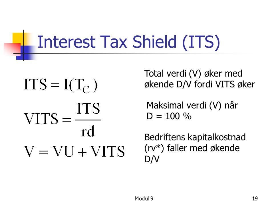 Modul 919 Interest Tax Shield (ITS) Total verdi (V) øker med økende D/V fordi VITS øker Maksimal verdi (V) når D = 100 % Bedriftens kapitalkostnad (rv