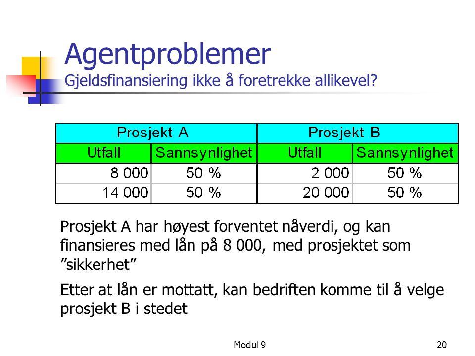 Modul 920 Agentproblemer Gjeldsfinansiering ikke å foretrekke allikevel? Prosjekt A har høyest forventet nåverdi, og kan finansieres med lån på 8 000,