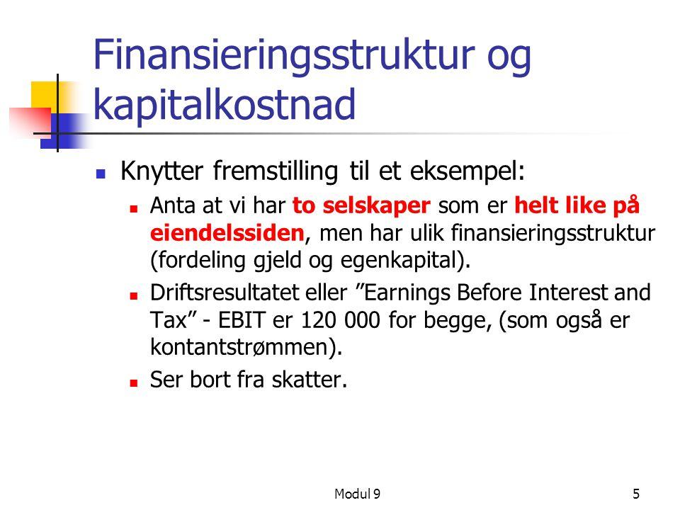 Modul 95 Finansieringsstruktur og kapitalkostnad Knytter fremstilling til et eksempel: Anta at vi har to selskaper som er helt like på eiendelssiden,