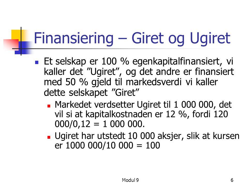 """Modul 96 Finansiering – Giret og Ugiret Et selskap er 100 % egenkapitalfinansiert, vi kaller det """"Ugiret"""", og det andre er finansiert med 50 % gjeld t"""