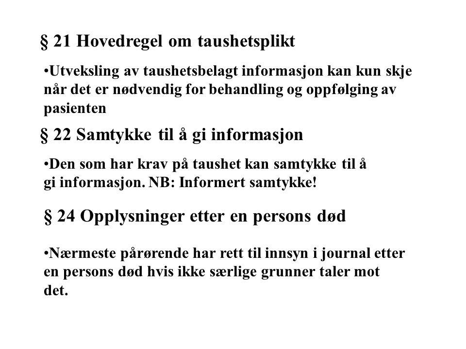 § 21 Hovedregel om taushetsplikt Utveksling av taushetsbelagt informasjon kan kun skje når det er nødvendig for behandling og oppfølging av pasienten