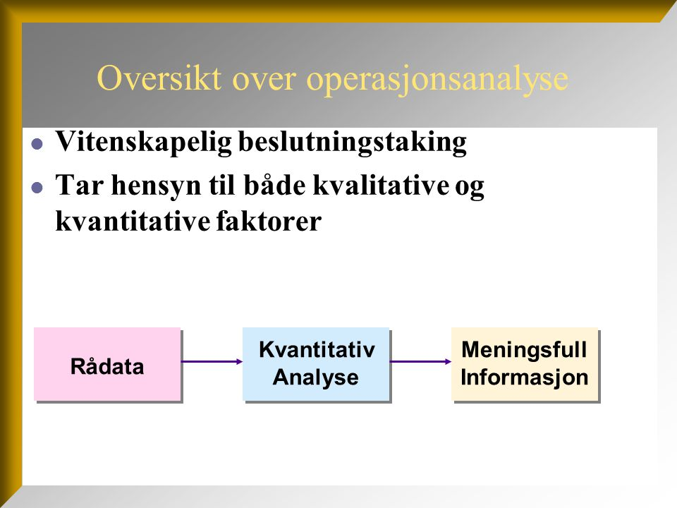 Oversikt over operasjonsanalyse Vitenskapelig beslutningstaking Tar hensyn til både kvalitative og kvantitative faktorer Rådata Kvantitativ Analyse Me