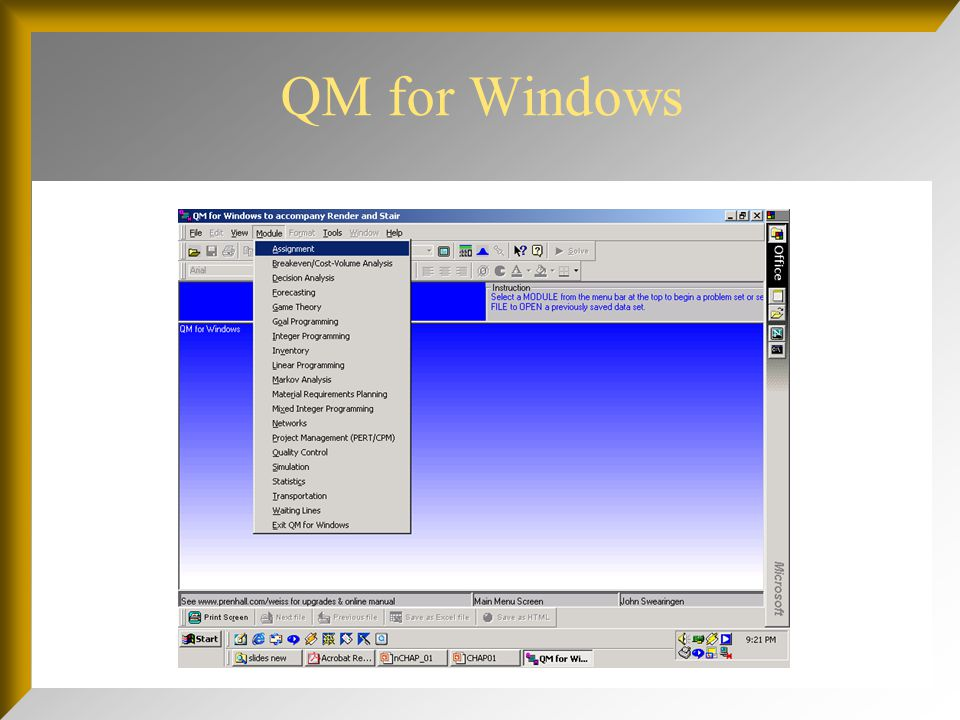 Excel QM's Main Menu of Models