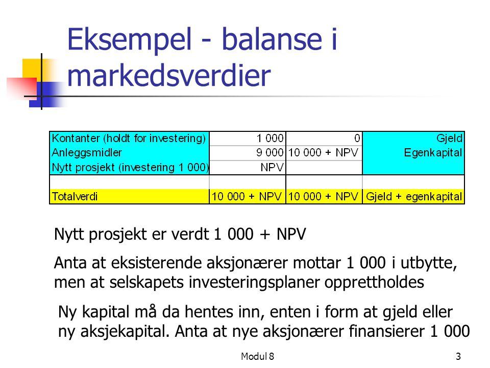 Modul 83 Eksempel - balanse i markedsverdier Nytt prosjekt er verdt 1 000 + NPV Anta at eksisterende aksjonærer mottar 1 000 i utbytte, men at selskap