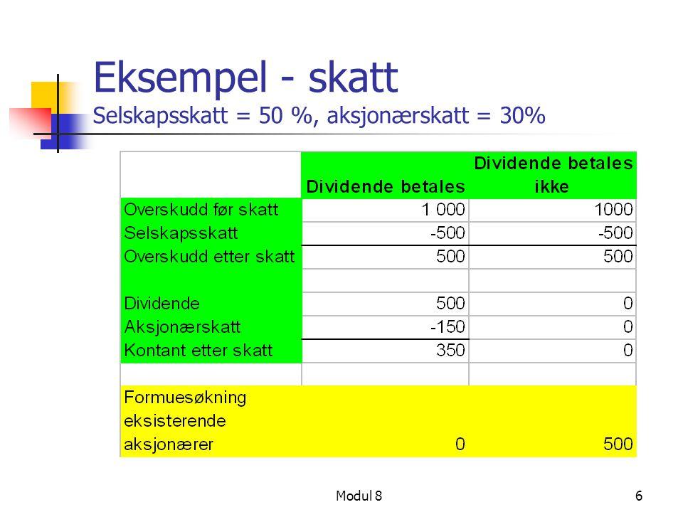 Modul 86 Eksempel - skatt Selskapsskatt = 50 %, aksjonærskatt = 30%