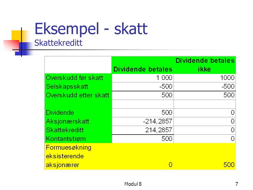 Modul 87 Eksempel - skatt Skattekreditt