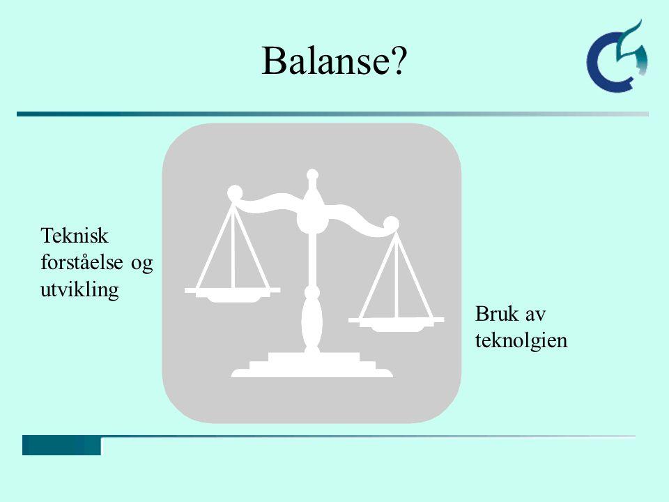 Balanse Teknisk forståelse og utvikling Bruk av teknolgien