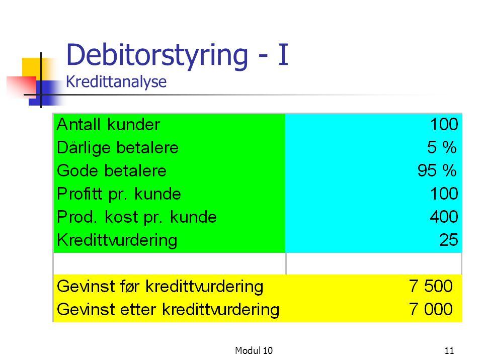Modul 1011 Debitorstyring - I Kredittanalyse