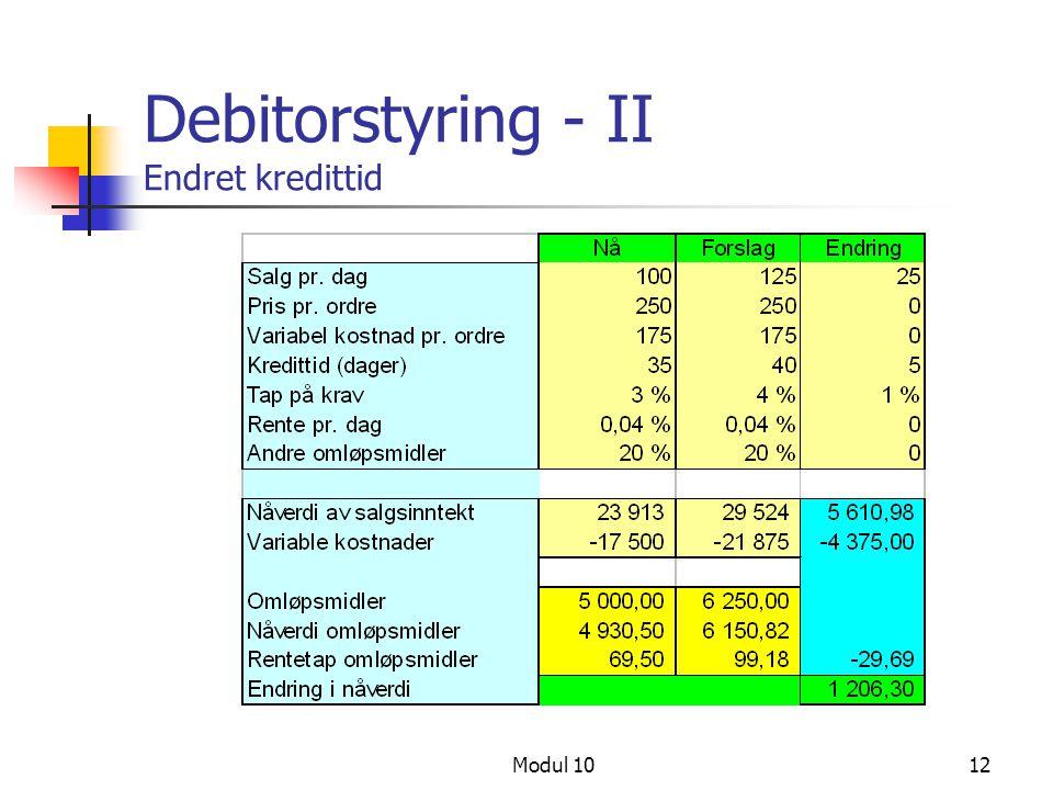 Modul 1012 Debitorstyring - II Endret kredittid