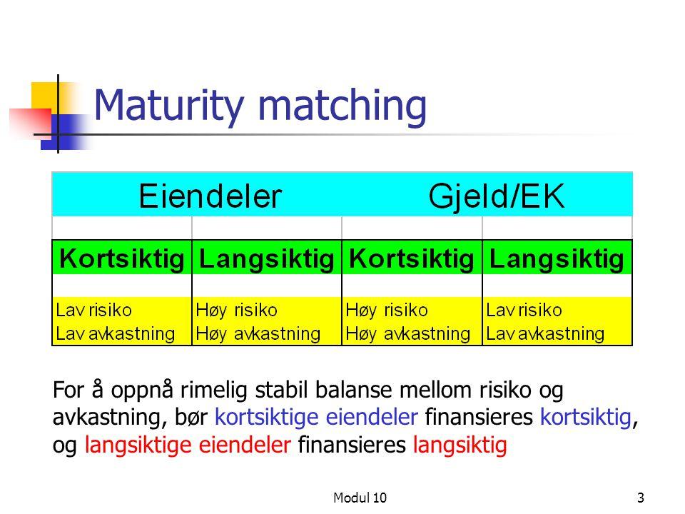 Modul 103 Maturity matching For å oppnå rimelig stabil balanse mellom risiko og avkastning, bør kortsiktige eiendeler finansieres kortsiktig, og langs
