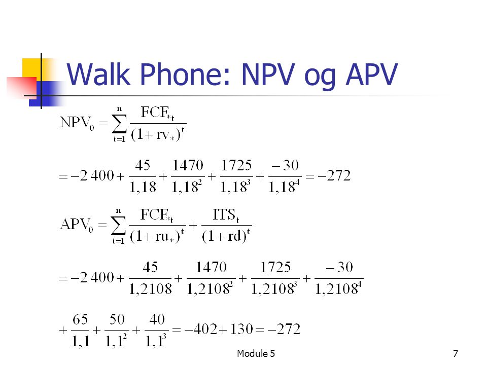 Module 57 Walk Phone: NPV og APV
