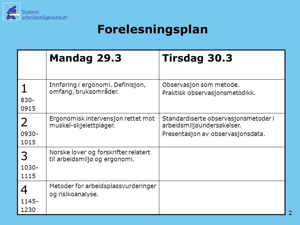 2 Forelesningsplan Mandag 29.3Tirsdag 30.3 1 830- 0915 Innføring i ergonomi. Definisjon, omfang, bruksområder. Observasjon som metode. Praktisk observ