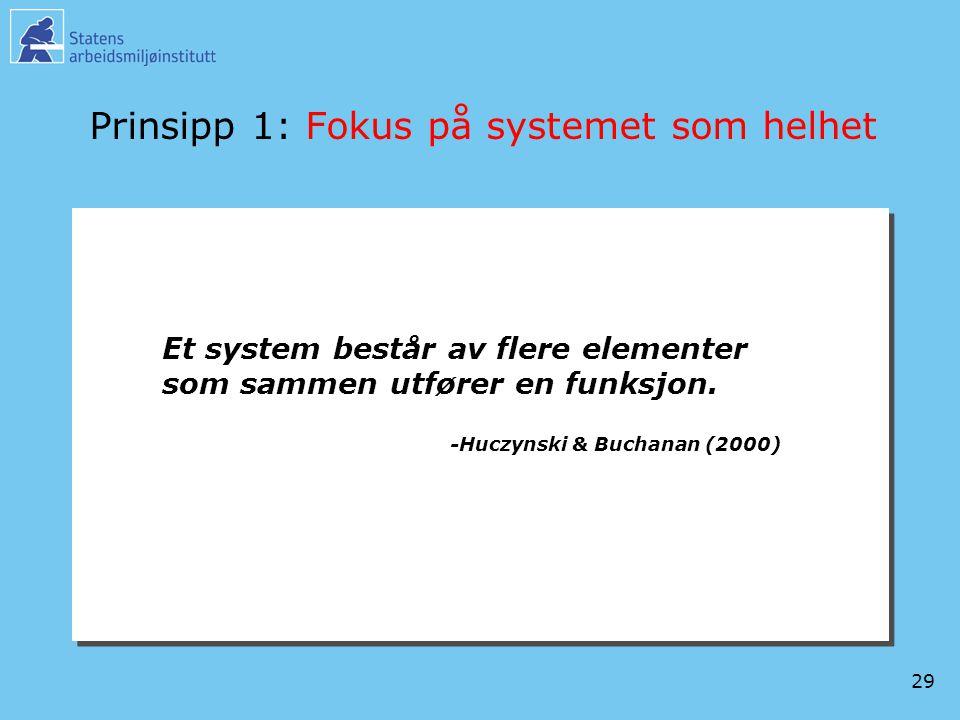 29 Prinsipp 1: Fokus på systemet som helhet Et system består av flere elementer som sammen utfører en funksjon. -Huczynski & Buchanan (2000)
