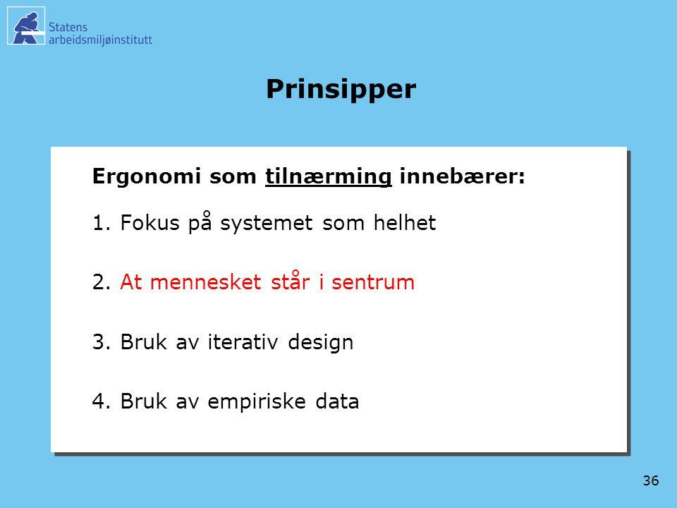 36 Prinsipper Ergonomi som tilnærming innebærer: 1.Fokus på systemet som helhet 2.At mennesket står i sentrum 3.Bruk av iterativ design 4.Bruk av empi