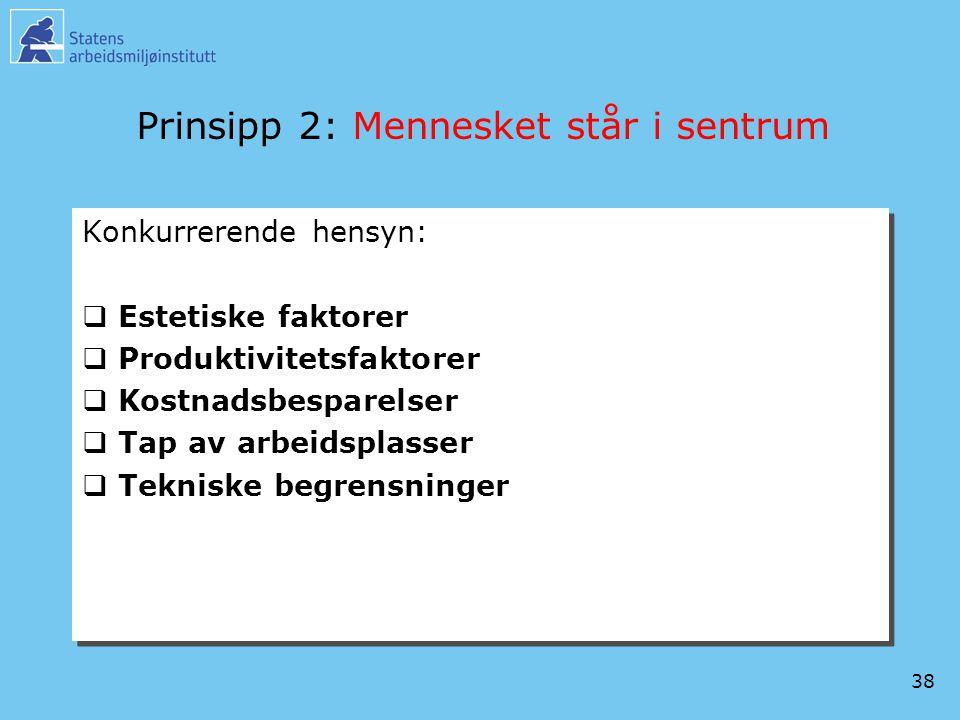 38 Prinsipp 2: Mennesket står i sentrum Konkurrerende hensyn:  Estetiske faktorer  Produktivitetsfaktorer  Kostnadsbesparelser  Tap av arbeidsplas