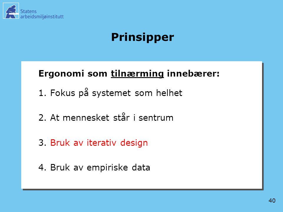 40 Prinsipper Ergonomi som tilnærming innebærer: 1.Fokus på systemet som helhet 2.At mennesket står i sentrum 3.Bruk av iterativ design 4.Bruk av empi