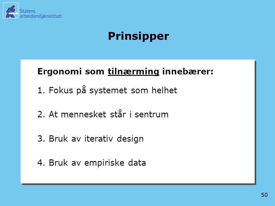 50 Prinsipper Ergonomi som tilnærming innebærer: 1.Fokus på systemet som helhet 2.At mennesket står i sentrum 3.Bruk av iterativ design 4.Bruk av empi