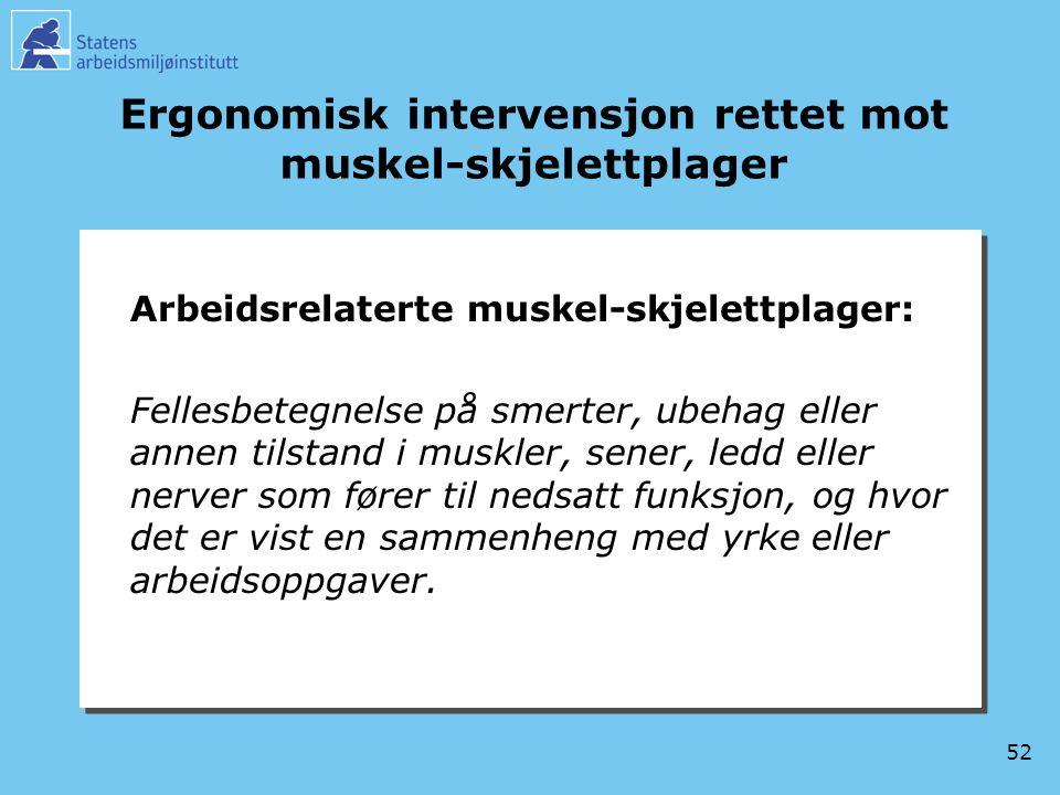 52 Ergonomisk intervensjon rettet mot muskel-skjelettplager Arbeidsrelaterte muskel-skjelettplager: Fellesbetegnelse på smerter, ubehag eller annen ti