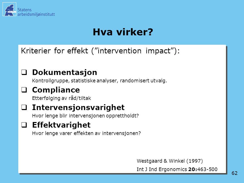 """62 Hva virker? Kriterier for effekt (""""intervention impact""""):  Dokumentasjon Kontrollgruppe, statistiske analyser, randomisert utvalg.  Compliance Et"""