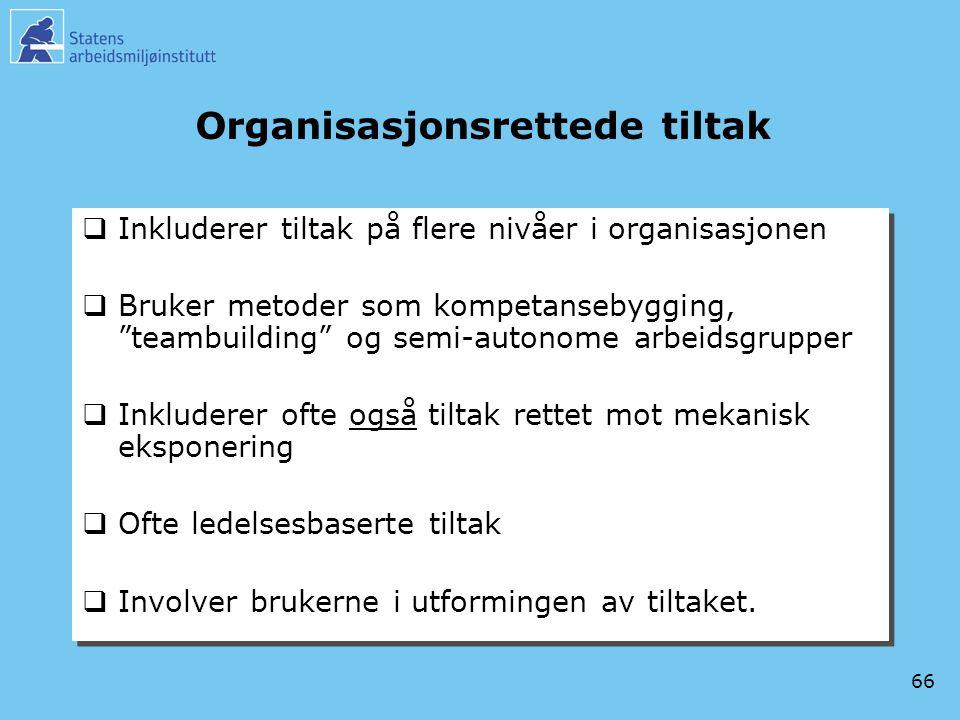 """66 Organisasjonsrettede tiltak  Inkluderer tiltak på flere nivåer i organisasjonen  Bruker metoder som kompetansebygging, """"teambuilding"""" og semi-aut"""