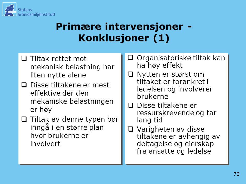 70 Primære intervensjoner - Konklusjoner (1)  Tiltak rettet mot mekanisk belastning har liten nytte alene  Disse tiltakene er mest effektive der den