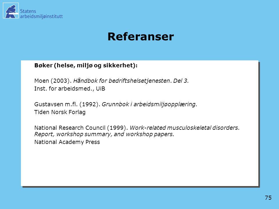 75 Referanser Bøker (helse, miljø og sikkerhet): Moen (2003). Håndbok for bedriftshelsetjenesten. Del 3. Inst. for arbeidsmed., UiB Gustavsen m.fl. (1