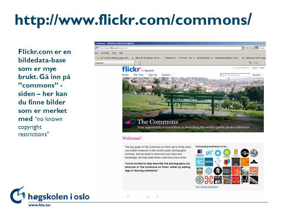 """http://www.flickr.com/commons / Flickr.com er en bildedata-base som er mye brukt. Gå inn på """"commons"""" - siden – her kan du finne bilder som er merket"""