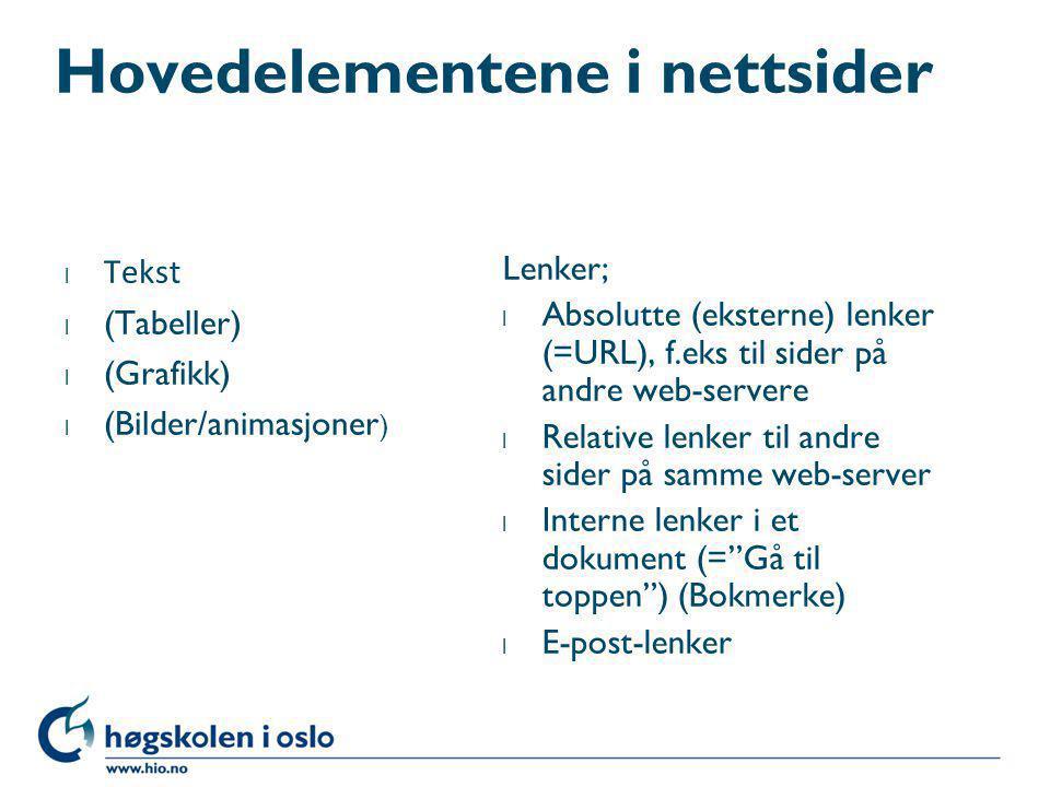 Hovedelementene i nettsider l Tekst l (Tabeller) l (Grafikk) l (Bilder/animasjoner ) Lenker; l Absolutte (eksterne) lenker (=URL), f.eks til sider på