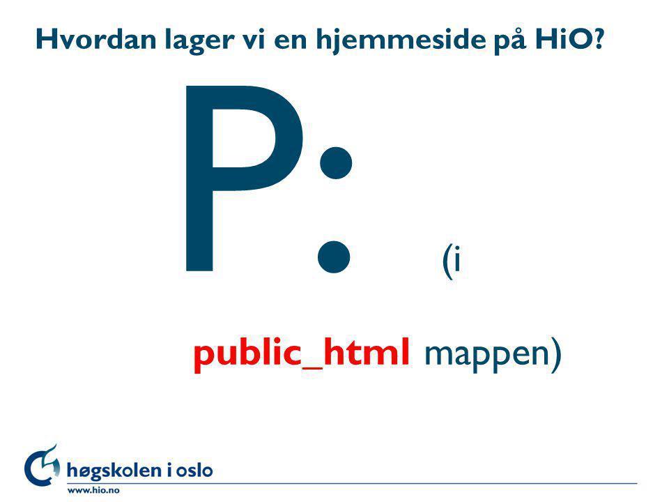 Hvordan lager vi en hjemmeside på HiO? P: (i public_html mappen)