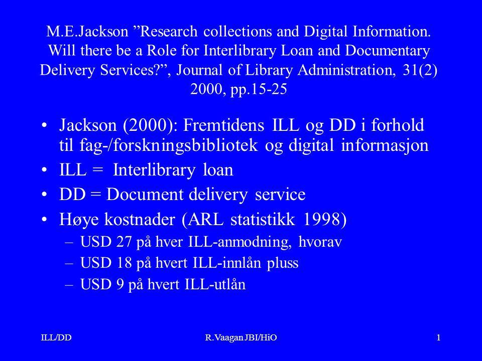 ILL/DDR.Vaagan JBI/HiO2 Arbeidskrevende: –15,6 dager på en ILL anmodning Dekker fortsatt bare 85% av innlåns- etterspørselen og 58% av utlåns- etterspørselen (ingen endring 1985-95) Må redusere personalkostnadene knyttet til ILL, forkorte behandlingstiden og dekke hele inn-/utlånsetterspørselen Utvikling i retning konsortier, bl.a.